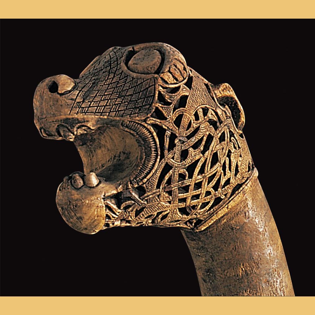 Viking animal-head post