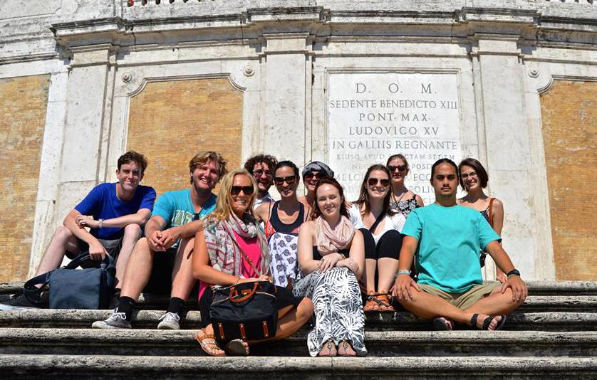 Carey Fee and students in Rome