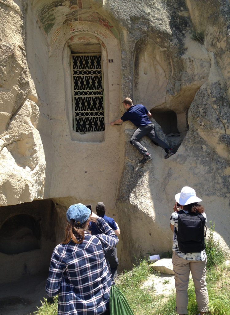 students at work in the rock-cut churches of Cappadocia, summer 2016