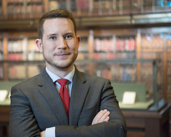 Joshua O'Driscoll, Asssitant Curator of Medieval and Renaissance Manuscripts, The Morgan Library & Museum, in Mr. Morgan's Library, Photography by Graham S. Haber, March 2016 (portrait 2)
