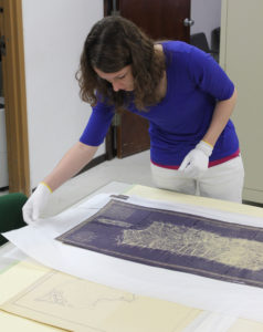 Emily Thames in historic archives, Puerto Rico