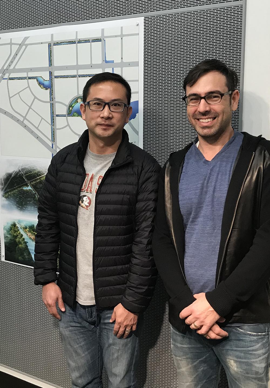 Professor Yang with Art History faculty host Michael Carrasco